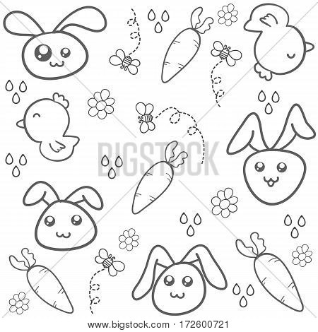 Collection of easter egg doodles vector art