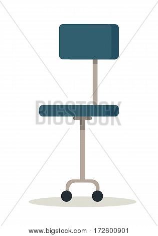 Blue office chair icon. Office chair in colorful flat design style. Office workplace design element. Isolated object on white background. Vector illustration.
