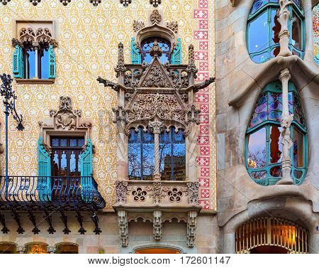 BARCELONA/ SPAIN - MARCH 25. Details of Houses Casa Batllo and Casa Amatller on March 25, 2015 in Barcelona, Spain.