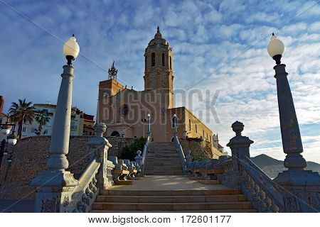 Church of Saint Bartholomew and Saint Tecla at sunrise in Sitges. Spain.