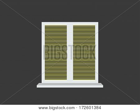 Closed window blinds. Window on a black background. Vector illustration