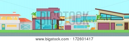 Set of houses, buildings and architecture variations. Flyer poster banner. Countryside or city architecture. Part of series of modern buildings in flat design style. Real estate concept. Vector