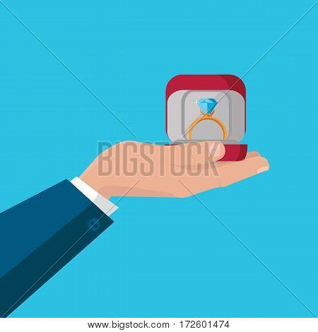 Marry my poster. Human hand holding beautiful wedding ring with blue gemstone. Engagement ring with blue gem in red box. Ring icon in flat. Precious ring with red gem. Vector illustration.
