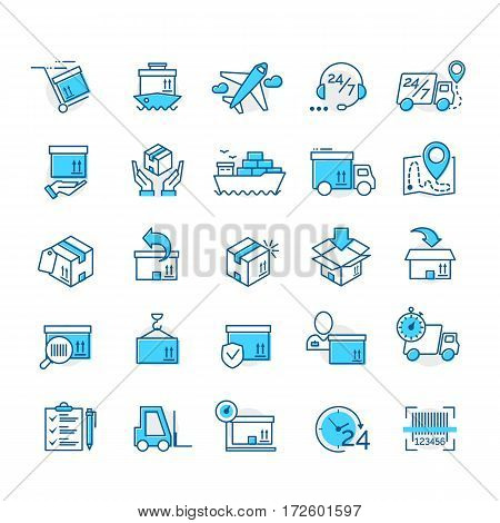 Set of color delivery icons for your app design project isolated on white background. Logistic icons. Vector IIlustration