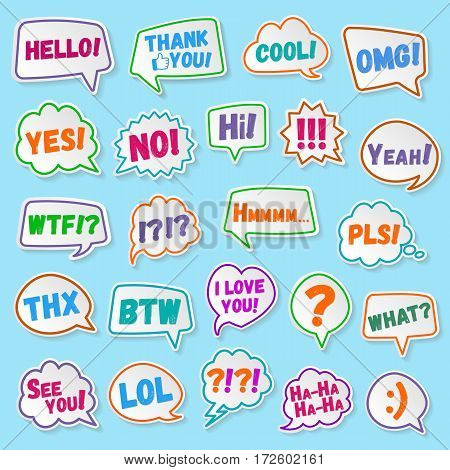 Stickers of speech bubbles color set with shadows isolated on blue background. Acronyms and abbreviations. Vector Illustration