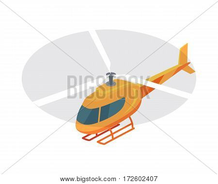 Flying helicopter isometric projection icon. Orange aircraft with propeller vector illustration isolated on white background. For game environment, transport infographics, logo, web design