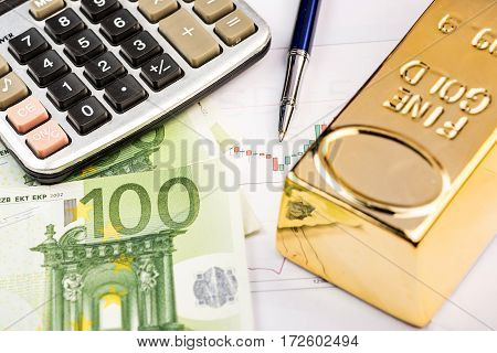 Fine gold bars and Euro high quality and high resolution studio shoot