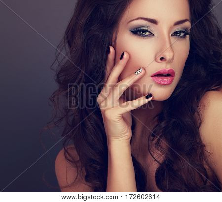 Fashionable Bright Makeup Woman With Long Hair, Creative Manicured Nails And Grey Eyeshadow With Bla