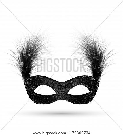 Black carnival mask with fluffy feathers isolated on white background