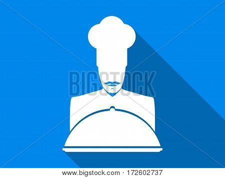 Chef flat icon with long shadow. Vector illustration