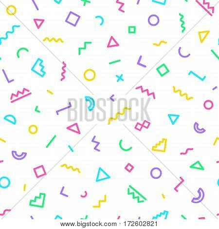 Memphis seamless pattern consisting of geometric shapes on white background. Vector Illusration