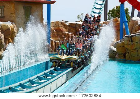 PORT AVENTURA/ SPAIN - MAY 11. Attraction Shambhala in the theme park Port Aventura on May 11, 2015 in city Salou, Catalonia, Spain.