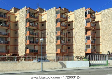 LA PINEDA/ SPAIN - MAY 15. Modern residential buildings on May 15, 2015 in town La Pineda, Spain.