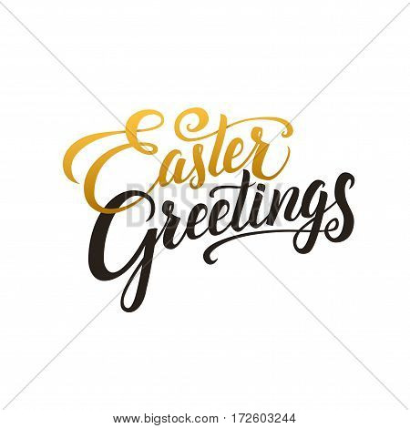 Happy Easter Calligraphy Greeting Card. Modern Brush Lettering. Joyful wishes, holiday greetings. Golden and Black Letters, White Background.