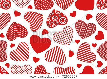 Seamless red hearts background isolated on white