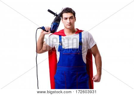 Superhero repairman isolated on white background