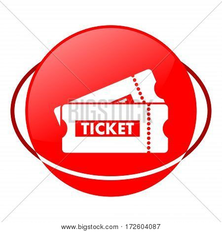 Red icon, ticket vector illustration on white background
