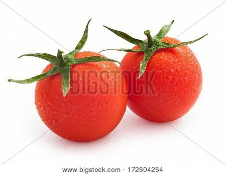 cherry tomatoes with water drops isolated on white background with clipping path
