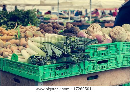 Open market where vegetables are sold. Healthy diet.