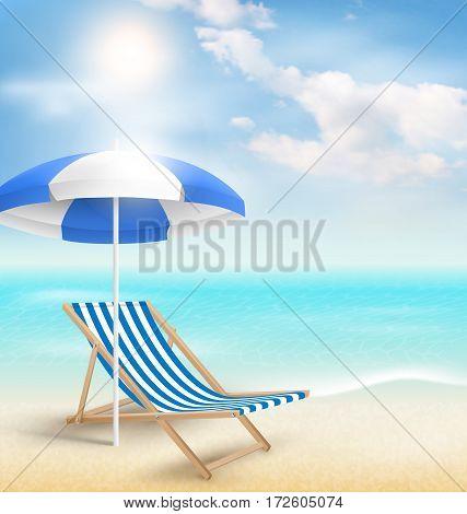 Beach with sun beach umbrella beach chair and clouds. Summer vacation background