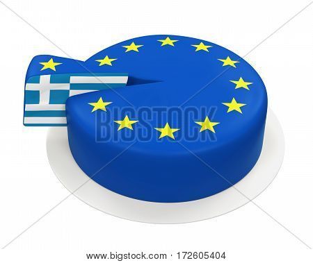 Flag of Greece as Piece of European Union Cake isolated on white background. 3D render