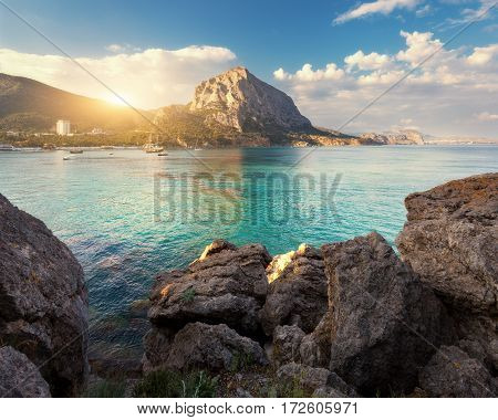 Summer Seascape At Sunset. Colorful Landscape