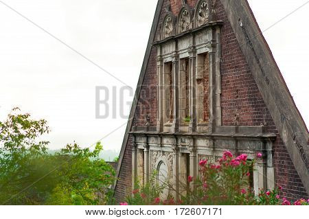 the ruins of Abkhazia. red case abandoned architecture