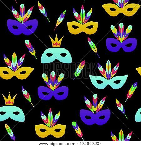 Vector illustration, seamless pattern with carnival masks. Mardi gras design element.