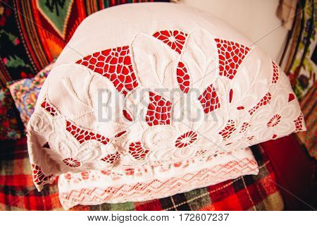 pillow embroidered with threads of Ukraine the ethnic pattern embroidery