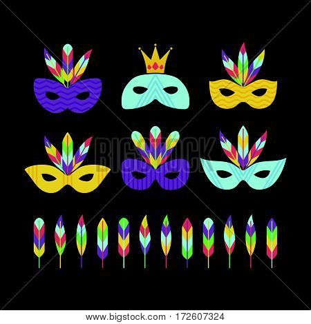 Vector illustration masquerade and carnival masks set. Mardi gras design element.