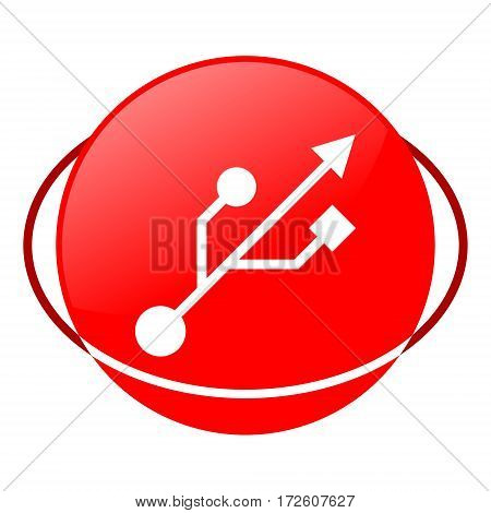 Red icon, usb icon vector illustration on white background