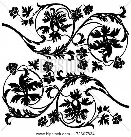 Vintage baroque ornament, corner. Retro pattern antique style acanthus.