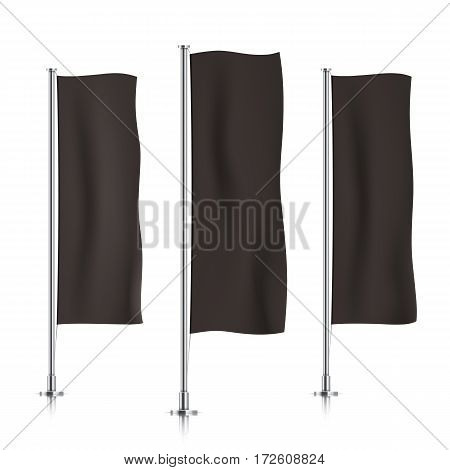 Three black vertical banner flags, standing in a row. Banner flag templates isolated on a white background. Vertical flags realistic mockup.