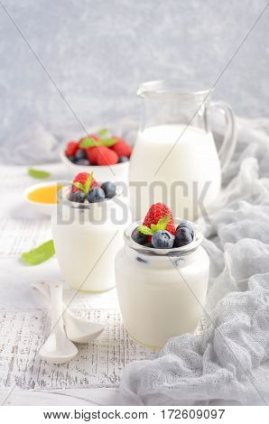 Homemade natural yogurt with blueberry and raspberry, selective focus