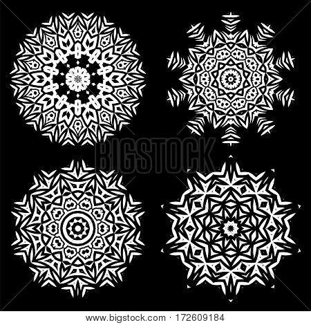 White Ornamental Line Pattern. Endless Texture. Oriental Geometric Ornament