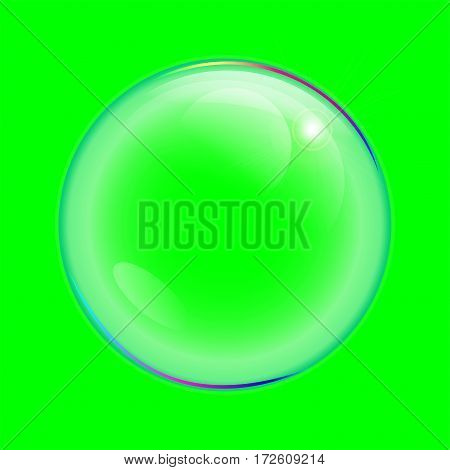 realistic transparent bubbles isolated element on green background
