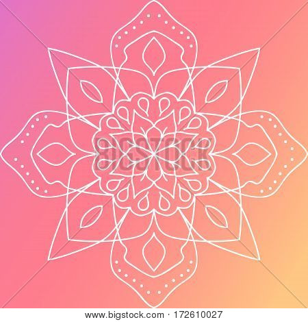 Bright Floral Round Pattern. Flourish Ethnic Mandala Ornament. Symmetric Ornate Tracery.