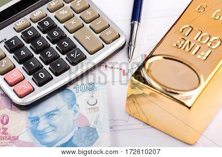Fine gold bars and Turkish Lira high quality and high resolution studio shoot