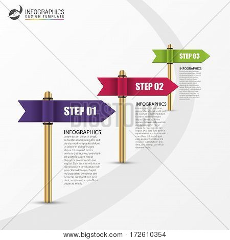 Infographic template. Business concept with multicolored flag. Vector illustration