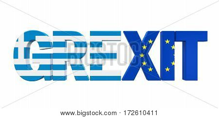 Grexit Text isolated on white background. 3D render