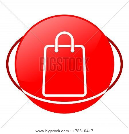 Red icon, shopping bag vector illustration on white background