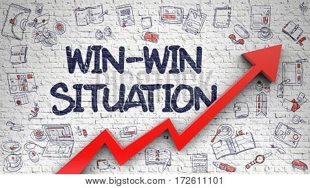 White Brickwall with Win-Win Situation Inscription and Red Arrow. Success Concept. Win-Win Situation - Line Style Illustration with Doodle Elements.