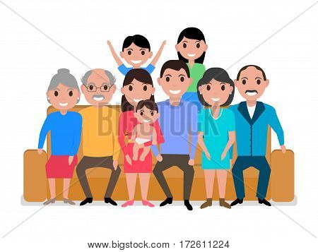 Vector illustration cartoon big happy family on the sofa. Isolated white background. Grandparents, parents, girl and boy on the couch. People sitting together on the divan. Flat style.