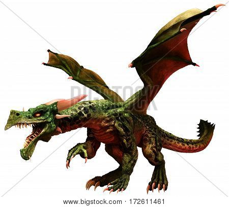 A green dragon  with wings spread 3D illustration