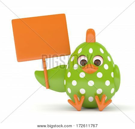 3D Render Of Easter Chick Holding Empty Board