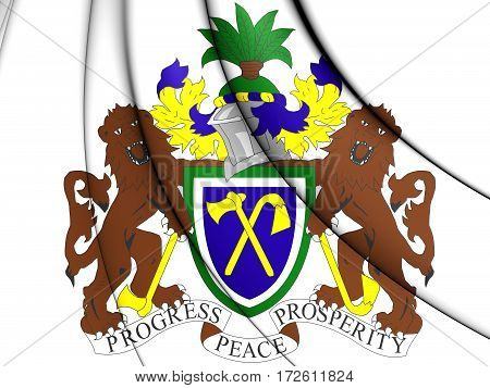 Gambia coat of arms. 3D Illustration. Front View.