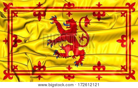Royal Standard of Scotland. 3D Illustration. Front View.