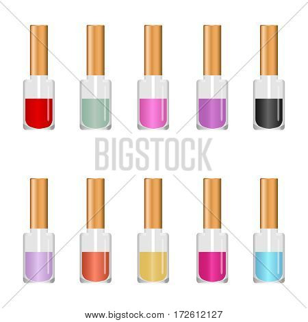 Nail polish, paint nails, manicure, pedicure. Flat design vector illustration vector