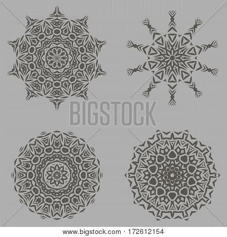 Grey Ornamental Line Rosettes. Endless Texture. Oriental Geometric Ornaments