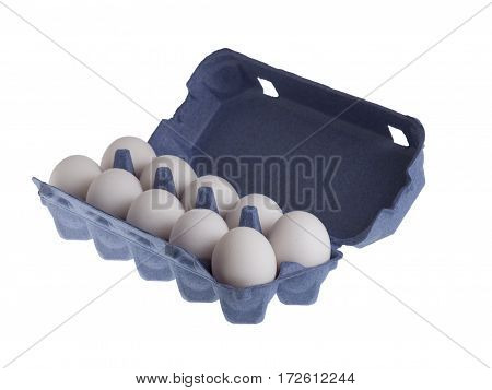 Ten eggs in the package isolated on white background